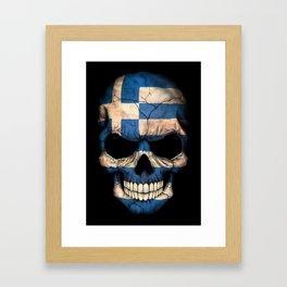 Dark Skull with Flag of Greece Framed Art Print
