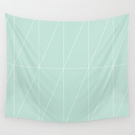 Mint Triangles by Friztin Wall Tapestry