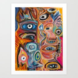 Street Art Brut Vector Graffiti Eyes Art Print