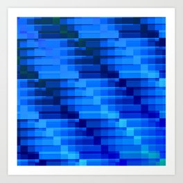 Buildings At Night In Blue Modern Abstract Art Print