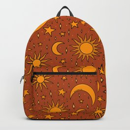 Vintage Sun and Star Print in Rust Backpack