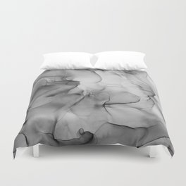 Black and White Marble Ink Abstract Painting Duvet Cover