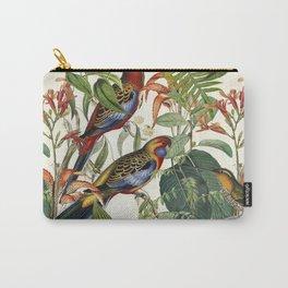 Jungle Birds Tropical Paradise Botanical Vintage Illustration Carry-All Pouch