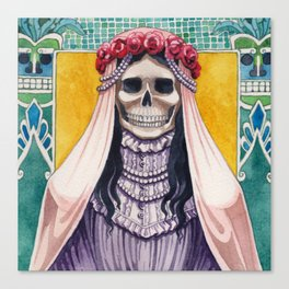 Santa Muerte As The Bride Canvas Print