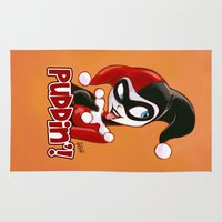 harley Area & Throw Rugs featuring Cute Harley Quinn Sketch by fabvalle