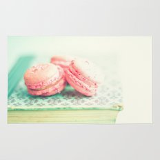 Pink Macaroons and Mint old book  Rug