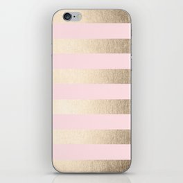 Simply Striped in White Gold Sands and Flamingo Pink iPhone Skin