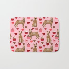 Australian Cattle Dog red heeler valentines day cupcakes hearts love dog breed gifts Bath Mat