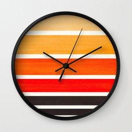 Orange Mid Century Modern Minimalist Circle Round Photo Staggered Sunset Geometric Stripe Design Wall Clock