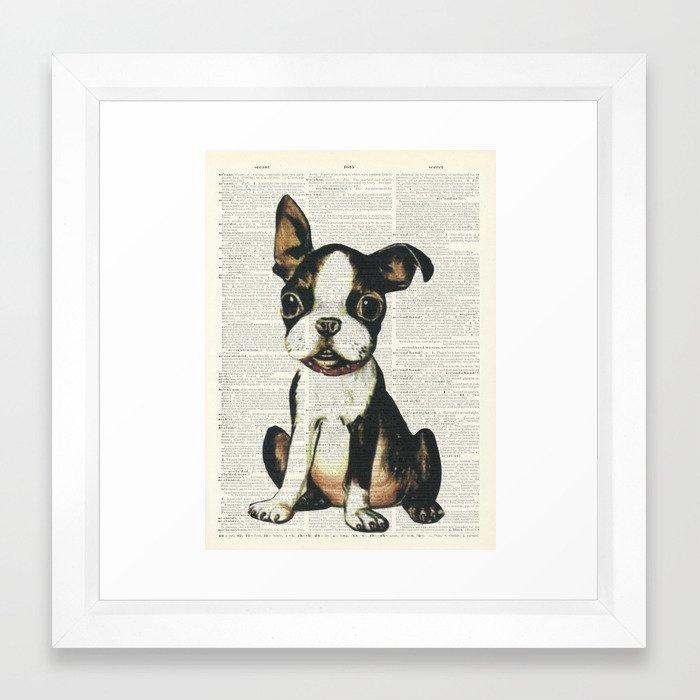 Boston Terrier Vintage Puppy Framed Art Print by autumnsensation ...