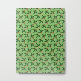 Merry & Bright | Holly Berries on Green Metal Print