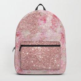 Girly pink boho floral rose gold glitter Backpack