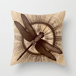 Steampunk - Mechanical Dragonfly Throw Pillow
