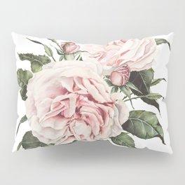 Pink Garden Roses Watercolor Pillow Sham