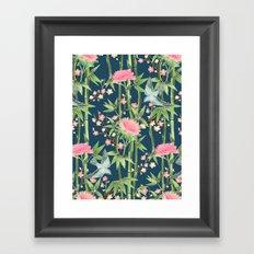 Bamboo, Birds and Blossom - dark teal Framed Art Print