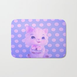 Polka dot kitty  Bath Mat