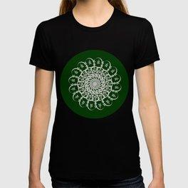 Mandala #104, Deep Green and White T-shirt