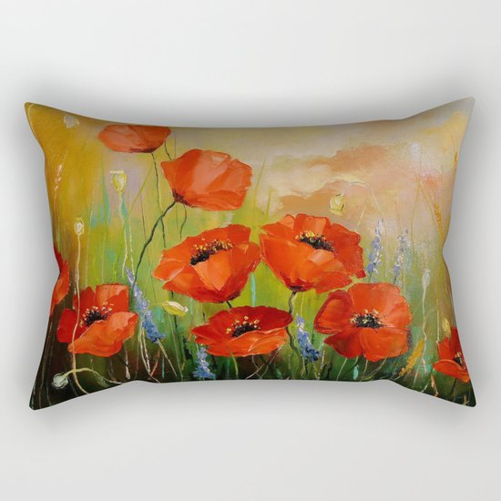 Poppies in the moonlight Rectangular Pillow