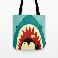 penguin Tote Bags featuring Hi! by Jay Fleck