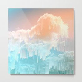 Frozen Sky Glitch - Icy blue & peach #glitchart #decor Metal Print