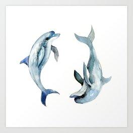 Dolphin, Two Dolphins, chidlren room decor illustration dolphin art Art Print