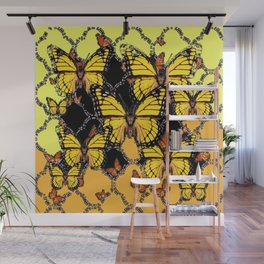 BLACK-GOLDEN YELLOW BUTTERFLIES ART Wall Mural
