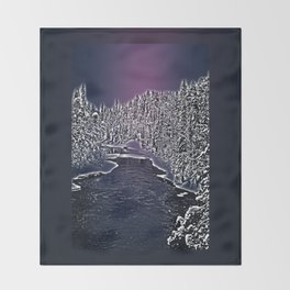 Winter river in Lapland Finland  Throw Blanket