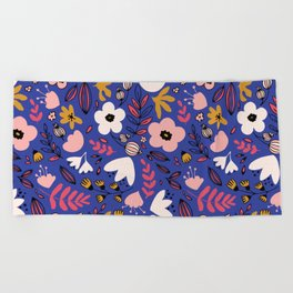 Fantasy flowers on blue Beach Towel
