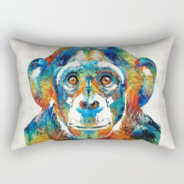 Colorful Chimp Art - Monkey Business - By Sharon Cummings Rectangular Pillow