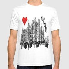 I love Milan Mens Fitted Tee MEDIUM White