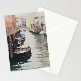 A boat moored on a Venice canal ... Stationery Cards