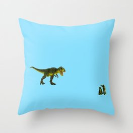 Dinosaurs vs Toy Soldiers Throw Pillow