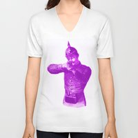 soldier V-neck T-shirts featuring Pink Soldier by Connor Resnick