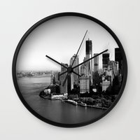 manhattan Wall Clocks featuring Manhattan  by Zakvdboom Designs