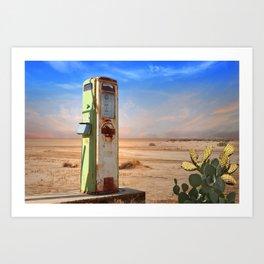 Old Gas Pump in Desert Art Print