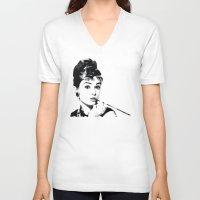 audrey hepburn V-neck T-shirts featuring audrey hepburn by gazonula