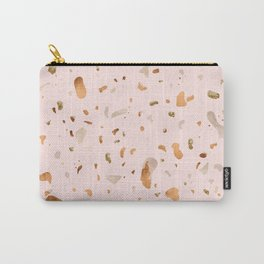 Blush terrazzo with gold and copper spots Carry-All Pouch
