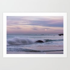 Pastel Ocean Moonrise Art Print
