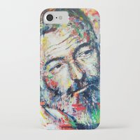 hemingway iPhone & iPod Cases featuring Ernest Hemingway by Marta Zawadzka