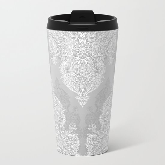 Lace & Shadows 2 - Monochrome Moroccan doodle Metal Travel Mug