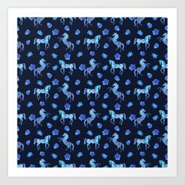 Neon blue -out of a dream- horses Art Print