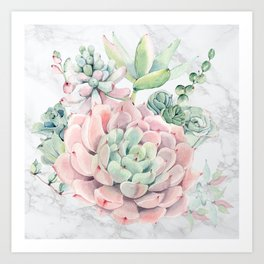 Pink Succulent on Marble by Nature Magick Art Print
