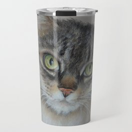 Tabby cat Maine Coon portrait Pastel drawing on the grey background Travel Mug