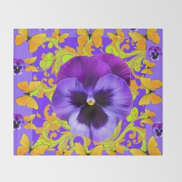 PURPLE PANSIES YELLOW BUTTERFLIES ABSTRACT FLORAL Throw Blanket