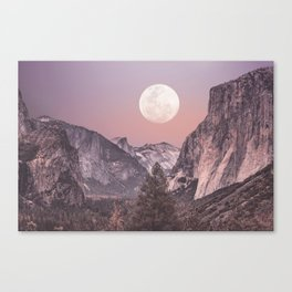 Pastel Full Moon Over Yosemite Park Canvas Print