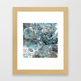 Turquoise White Gold Faux Marble Granite Framed Art Print