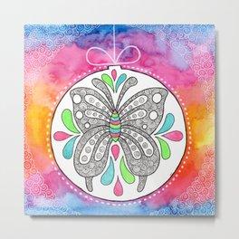 Watercolor Doodle Art | Butterfly Metal Print