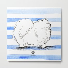 Samoyed Samuel, Lover of Stripes Metal Print