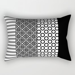 Black white block Nordic Rectangular Pillow