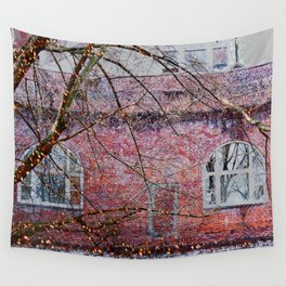 Brick Exterior with Lights Wall Tapestry